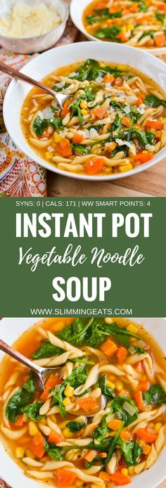 Slimming Eats Syn Free Instant Pot Vegetable Noodle Soup - dairy free, vegetarian, Slimming World and Weight Watchers friendly - Noodle Recipes Vegetable Noodle Soup, Veggie Soup, Vegetarian Soup, Vegetable Recipes, Instapot Vegetarian Recipes, Chinese Vegetable Soup, Vegetarian Recipes Instant Pot, Pressure Cooker Recipes Vegetarian, Slimming World Vegetarian Recipes