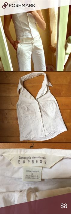⭐️Express white backless top Excellent Condition white collared button front top. Backless. Perfect for summer! Note: pants are for sale & listed in my closet. Express Tops