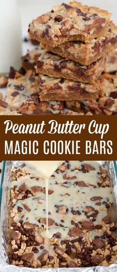 Peanut Butter Cup Magic Cookie Bars - Peanut butter cookie crust, chocolate chips, peanut butter chips, peanut butters cups, and salted peanuts make up these gooey, addicting bars. #peanutbutter #cookies #bars #baking #dessert #chocolatechips #peanutbuttercups
