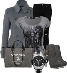 A fashion look from March 2013 featuring grey shirt, grey peacoat and destroyed jeans. Browse and shop related looks. New Outfits, Stylish Outfits, Fashion Outfits, Jeans Outfit Winter, Winter Outfits, Diva Fashion, Fashion Looks, Womens Fashion, Types Of Clothing Styles