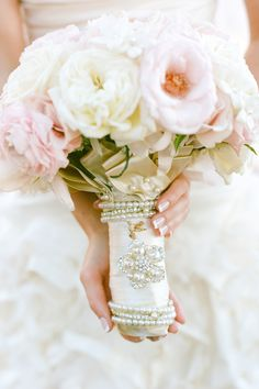 Bridal Bouquet of Pink and Cream Peonies and Garden Roses