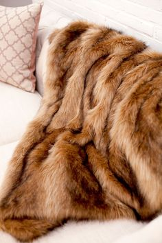 Faux Ibex Fur Throw - Multi