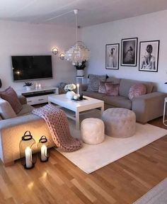 Affirmations Home Living Room Designs Cozy Living Rooms Living Room Ideas 2019, Living Room Goals, Cozy Living Rooms, Home And Living, Living Room Decor Grey Sofa, Tv On Wall Ideas Living Room, Blush Pink Living Room, Living Room Candles, Shabby Chic Decor Living Room