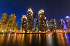 Dubai Marina by Rahul Bakshi - Dubai Marina at night Click on the image to enlarge.