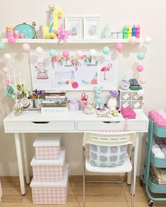 Pretty white and pastel craft room craft rooms & home decor Craft Room Decor, Cute Room Decor, Rooms Home Decor, My New Room, My Room, Girl Room, Home Room Design, Home Office Design, Room Interior