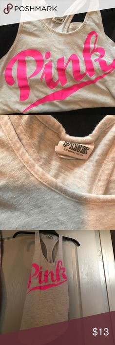 🌸Pink logo tank🌸 Pink brand logo racerback T PINK Victoria's Secret Tops Tank Tops