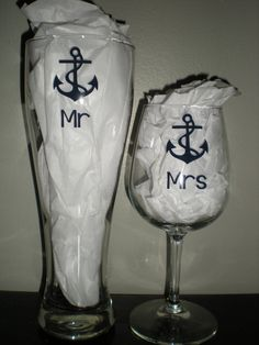 Anchor Theme Mr and Mrs Wine & Beer Glass Set by PrettiesByJenny, $18.00