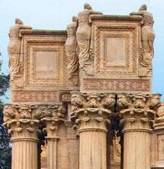 Weeping female figures - Palace of Fine Arts in San Francisco, CA San Francisco, Palace Of Fine Arts, Guerrilla, Warfare, Facade, Photo Galleries, Lion Sculpture, Statue, Columns