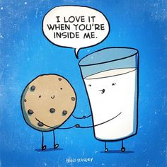 Milk and cookie humour. Funny Food Puns, Funny Memes, Funny Shit, Funny Stuff, Food Jokes, Jokes Kids, Funny Things, Tgif Funny, Hilarious