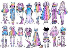 CLOSED-Sky Rainbow outfits by Guppie-Vibes on DeviantArt - The Effective Pictures We Offer You About diy projects A quality picture can tell you many things. Art Drawings Sketches, Kawaii Drawings, Cute Drawings, Art Illustrations, Character Art, Character Design, Drawing Anime Clothes, Rainbow Outfit, Rainbow Clothes