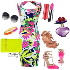 Let's take it back to the 80's with some trending Neon. This week's Frugal Fashion Friday we have a Neon Miami Vice Outfit inspired by the hit show. Polyvore Outfit. Fashion DIY.