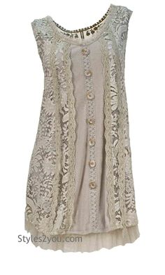 Lady Patina Tunic In Beige-Gray