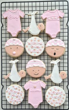 Decorated Baby Girl Shower Cookies by peapodscookies
