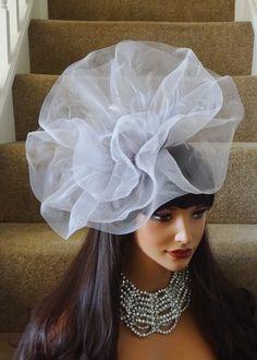 Large Silver Crin Hair Fascinator Hat 545784
