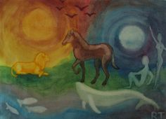 Waldorf ~ 4th grade ~ Human & Animal ~ watercolor painting