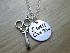 Hand Stamped I Will Cut You Scissor Necklace by ThePeapodShop