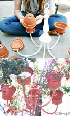 Get creative with this DIY a chandelier planter perfect for your patio.