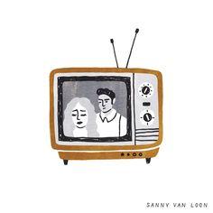Illustration by Sanny van Loon from the book 'Creative Flow' • www.sannyvanloon.com | vintage tv | soap opera