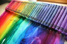 So you basically put crayons on a canvas and melt them.  So simple and so beautiful!