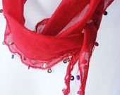 Red Cotton Scarf  With Wooden Bead- Under 15 - Headband - Bandana