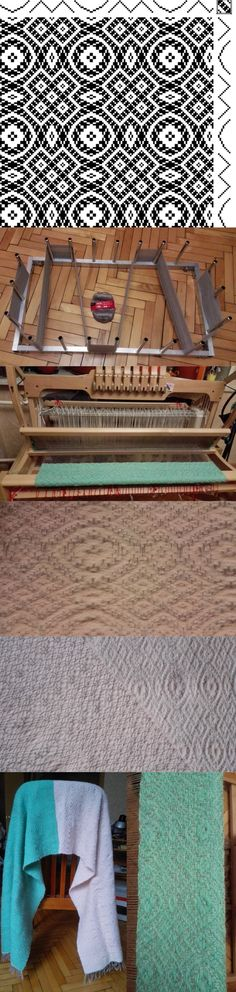 I finished weaving bicolor palatine. Is very soft and warm. I was weaving it during the whole year))) Loom 8 shaft, reed 16 dpi / 80cm Warp gray wool 100%, 1613 m / 100 g. Weft pink and green 15% wool, 35% alpaca, 50% acrylic, 380 m / 100 g. Medium photo is face and reverse sides of the main picture