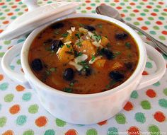 Cabbage, Sweet Potato and Black Bean Soup // Veganize by replacing dairy with soy milk and/or cashew cream.