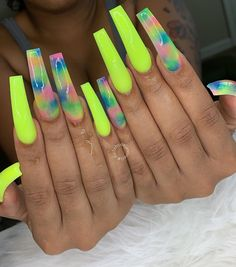 Lime green pink and blue coffin nails Drip Nails, Aycrlic Nails, Neon Nails, Coffin Nails, Stiletto Nails, Summer Acrylic Nails, Best Acrylic Nails, Colored Acrylic Nails, Spring Nails