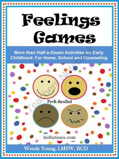 Feelings Games from Kidlutions: Solutions for Kids on TeachersNotebook.com (34 pages)  - More than 30 pages of social-emotional development activities to use with children up to about age 8.  May be used at home, schools, camps, scouting events, library programs, therapy, counseling and MORE!  For circle time, story time, centers and a whole