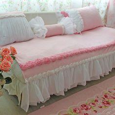 winter pink sweet princess ultrafine velvet home textile sofa cushion window pad,lace ruffle rose cushion pad