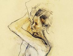 "Original drawing ""Hommage à Schiele XX""  mixed media on paper 15""x9"" nude live study Mature"