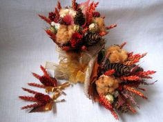 Autumn rustic wedding set bridal bouquet with by FlowerDecoupage, €39.75