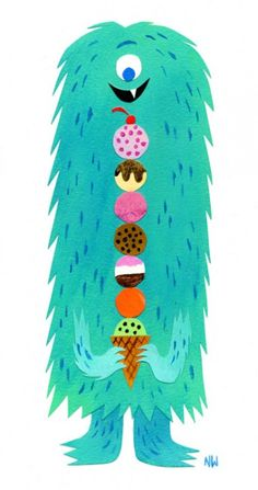 Nate Wragg Art and Illustration: Sweet Tooth **This is my kind of monster! I love all the texture in this illustration. Little Monsters, Cute Monsters, Art And Illustration, Illustrations And Posters, Cute Monster Illustration, Ice Cream Illustration, Animal Illustrations, Design Illustrations, Vintage Illustrations