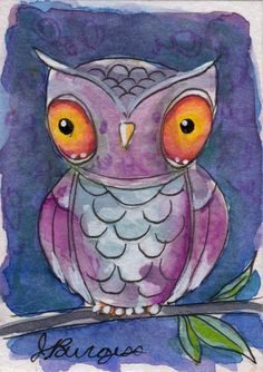 watercolor owl PINK miniature painting ACEO signed original by J.Burgess