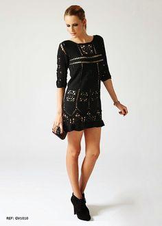 Irish crochet &: Маленькое черное платье крючком от Giovanna Diaz