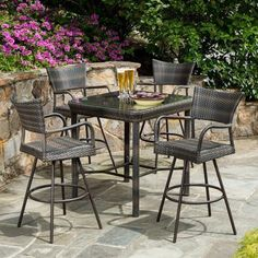 Convert your patio, deck or outdoor space into a cool relaxation retreat with the Tutto All-Weather Wicker Bar Height Dining Set - Seats 4 . Wood Patio, Patio Chairs, Patio Dining, Outdoor Patio Bar Sets, Outdoor Decor, Patio Sets, Outdoor Living, Bar Height Dining Table, Dining Sets