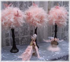TEN Elegant PINK Feather Centerpieces with GOLD by Ivyndell, $700.00
