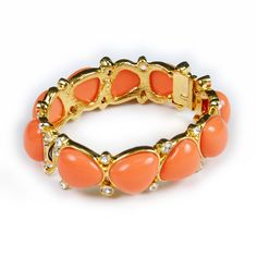 Kenneth Jay Lane Coral Cabochon and Crystal Bangle Bracelet