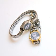 Buy old watches from garage sales and turn them into photo bracelets. Cute idea.