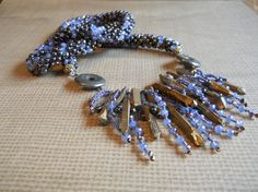 Bohemian Cornflower Blue Bronze and Brown Iris by TerebellumStudio
