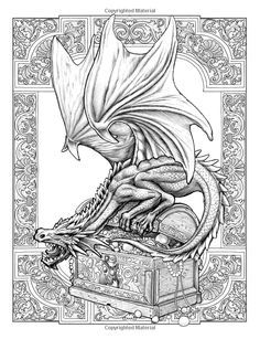 Dragon Coloring Page for Adults Adult Coloring Book Pages, Printable Adult Coloring Pages, Cool Coloring Pages, Coloring Pages To Print, Coloring Books, Dragon Coloring Page, Dragon Sketch, Dragon Artwork, Dragon Pictures