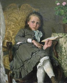 Erik Theodor Werenskiold - Girl in a chair (1879) - the pose doesn't always have to be proper or the sitter smiling