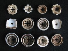 12 OLD CARVED CONUS SHELL Hair adornment/trade beads. Berber . This is a selection of twelve old carved conus shell beads, including some rare specimens. Used by moroccan berbers and mauritanian moors as hair adornment and trade beads. They are also used in neckleces and adornments among amber, coral, silver, glass and other beads. Hand made by cutting the base of the conus shell, grounded to give the shape and carved to made the incisions and designs. See pages 34 and 47 in Collectible…