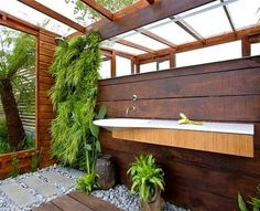 Inspiring 45 Outdoor Bathroom Designs That You Gonna Love : 45 Outdoor Bathroom Designs With Wooden Bathroom Wall Wash Basin Mirror Wooden Ceiling Window Hardwood Floor Pad And Stone Ornament With Glass Roof