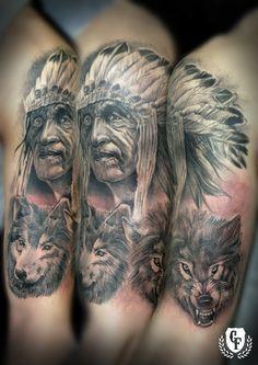 Indian Tattoos | Tatuaje indio lobo tattoo indian wolf