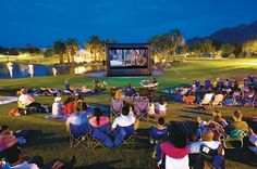 Movies on the lawn... Love all the summer outdoor activities #colorsofsummer