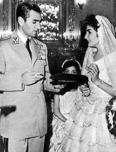 The Shah of Iran with his eldest daughter, Shahnaz on her wedding day 1957