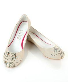 Look at this #zulilyfind! White Daisy Ballet Flat by Goby #zulilyfinds
