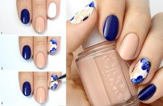 94 Wonderful Easy Diy Nail Art Ideas for Beginners - Beauty Ideas Nail Art Simple, Pretty Nail Art, Beautiful Nail Art, Nail Art Design Gallery, Simple Nail Art Designs, Blue Nail, White Nail, Thin Nails, Short Nails