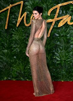 British Fashion Awards: Kendall Jenner leaves little to the imagination in a sheer gold-beaded dress Gold Beaded Dress, Gold Dress, British Fashion Awards, Kendall E Kylie Jenner, Kendall Jenner Fashion, Sheer Gown, 50 Fashion, Fashion Trends, Mode Style