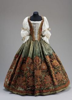 Hungarian women's wedding suit middle of XVII century. Bodice and skirt  supposedly belonged to Princess Ursula Esterházy (1641-1682), first wife of Prince Pál Esterházy I. Ursula was married to Pal in 1652, when she was only 11 years old. Duchess during his short life gave birth to nineteen children. Some researchers believe that this ensemble belonged to the second wife of Prince Estrehazi, Eve Tekeli. In any case, the views agree that the suit passed on from generation to generation, and…